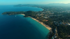 Aerial: Flying to the Surin beach. Stock Footage