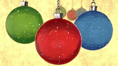 """3d crystal tree toys, snow and appear text on german """"Frohes Neues Jahr!"""" Stock Footage"""
