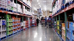 Blench and detergent product corridor in Costco store with 4k resolution Stock Footage