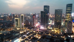 China business district in chengdu ancient night time-lapse photography Stock Footage