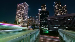 Time-lapse of traffic and the downtown Los Angeles skyline Arkistovideo