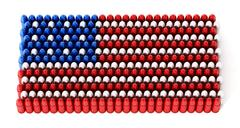 Bullets forming an American flag. 3D illustration Piirros