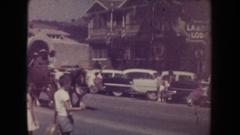 1954: covered wagon on display as it walks down main street SOUTH DAKOTA Stock Footage
