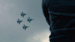 Jet fighter performing aerobatic flight at the airshow Stock Footage
