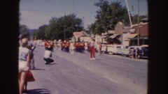1954: parade down a small town street with a marching band SOUTH DAKOTA Stock Footage