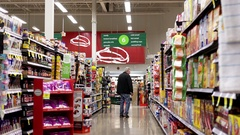 Candy and cereal product corridor in Save on foods store with 4k resolution Stock Footage