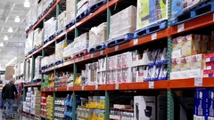 Stationery product corridor in Costco store with 4k resolution Stock Footage