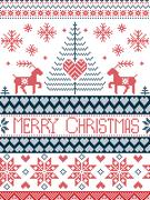 Merry xmas tall xmas pattern with reindeer in red blue white Stock Illustration