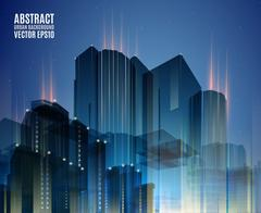 Blue city skyline at night. Graphical urban abstract cityscape background for Stock Illustration