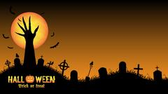 Halloween background with demon hand in graveyard Stock Illustration