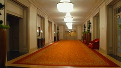 Walking through an old hotel Stock Footage