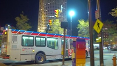 Walking Cleveland OH at night Stock Footage
