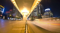 The Chinese road traffic of chengdu night time-lapse photography Stock Footage
