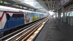 4K Metro Train Go To Destiny At A Station In Bangkok. A Subway Underground-Dan Stock Footage