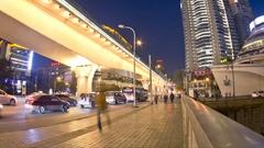 China's urban traffic of chengdu night time-lapse photography Stock Footage