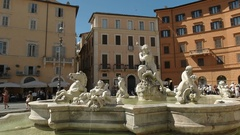 Neptune fountain in piazza navona, rome Stock Footage