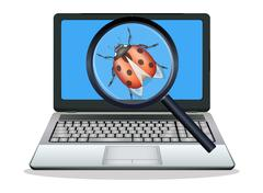 Laptop found computer bug Stock Illustration
