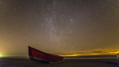 Stars Time Lapse Beach Boat Stock Footage