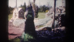 1957: curious peacock crashes village ceremony OREGON Stock Footage