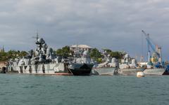 Warships in Sevastopol naval base Black Sea Fleet at the Bay of Karantinnaya Stock Photos