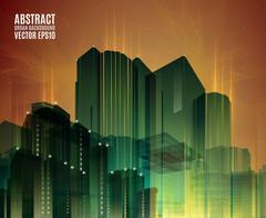 Orange and Green city skyline at night. Graphical urban abstract cityscape Piirros