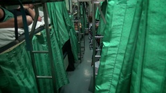 4k Inside A sleeper beds on Thai train at night, Transport for backpackers-Dan Stock Footage