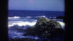 1957: a woman walking barefoot on the rocks SAN FRANCISCO CALIFORNIA Stock Footage