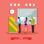 Vector illustration of ATM, people standing in queue for cash Piirros