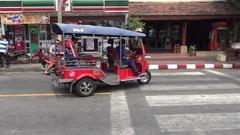 4K Monk using smartphone and travel in Tuk Tuk of Street at Chiang Mai-Dan Stock Footage