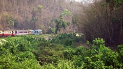 4K view of Thai Train in Countryside Begins In Bangkok Go To Chiang Mai-Dan Stock Footage