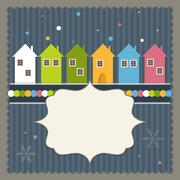 Merry Christmas And Happy New Year Real Estate Card Stock Illustration