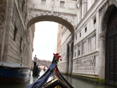 Point of view of Gondola Ride on Venice Channels Stock Footage