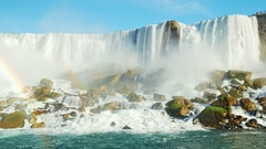 4K video: Bottom-up view of Niagara Falls from the ship sailed. Lower angle Stock Footage
