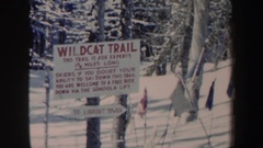 1962: man swerving down an expert-level, high-risk skiing hill NEW HAMPSHIRE Stock Footage