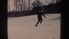 1962: skier shooshing down a bunny slope NEW HAMPSHIRE Stock Footage