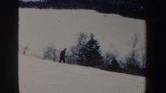 1962: skier skiing down a moderate slope in between conifers; skiers exiting Stock Footage