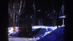 1962: machine plowing snow from a small slope adjacent to a house NEW HAMPSHIRE Stock Footage