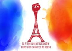 Pray for Paris. France. Eiffel tower on background colored france flag Stock Illustration