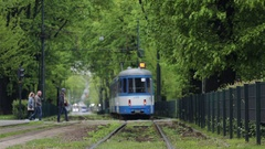 Blue tram going through green alley. Stock Footage