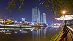 China's night at the lounge Bridges in funan river time-lapse photography Stock Footage