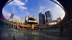 China chengdu tianfu square time-lapse photography Stock Footage