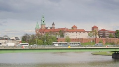 Krakow cityscape with Wawel royal castle, Poland Stock Footage