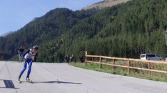 A participants go fast  in a biathlon summer training, SLOW MOTION Stock Footage