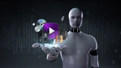 Robot cyborg open palm, various music download internet service function. Stock Footage