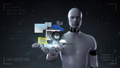 Robot cyborg open palm,  photo, camera application social contents. Stock Footage