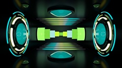 Circular lights and neon tubes in room with spinning reactor Stock Footage