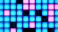 Rotating room of glowing neon lights and blinking boxes Stock Footage