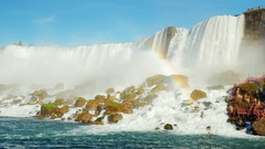 Niagara Falls, the bottom point of shooting. It is also seen track dyal tourists Stock Footage