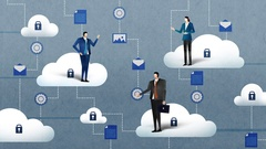 Businessman businesswoman with Cloud computing service.business illustration Stock Footage