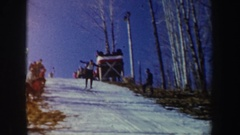 1962: skiers literally fly down mountain NEW YORK Stock Footage